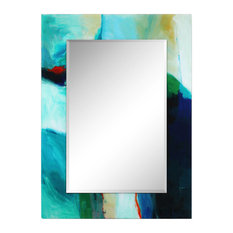"""Sky"" Rectangular Beveled Mirror on Reverse Printed Tempered Art Glass"