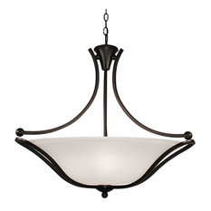 Bronze and White Feather Glass Chandelier Light