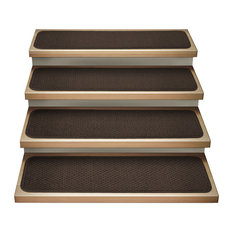 """Set of 15 Attachable Carpet Stair Treads Chocolate Brown, 8""""x27"""""""