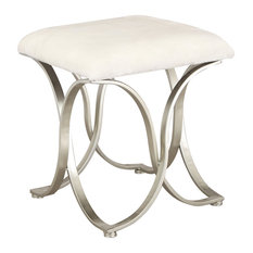 Joveco - Luxury Modern Design Fabric Cushion Upholstered Footrest Stool, White 2 - Vanity Stools and Benches