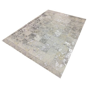 Patchwork Leather Cubed Cowhide Rug, White and Silver Acid, 200x300 cm
