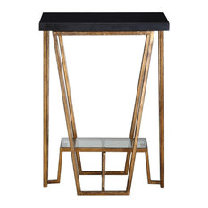 Uttermost   Elegant Angled Black Gold Accent Table, Granite Marble Top Open    Side Tables