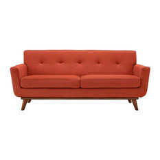 GRIFFON UPHOLSTERED FABRIC LOVE SEAT/ATOMIC RED
