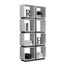 """Bookcase, 71""""H, White, Gray"""