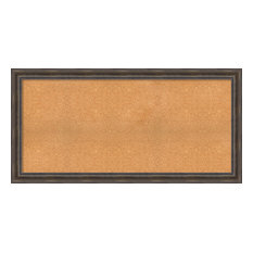 """Framed Cork Board, Rustic Pine Wood, Outer Size 63""""x31"""""""