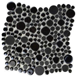 "Posh Bubble Porcelain Mosaic Wall Tile, Black, Sample Card, 3""x4"""