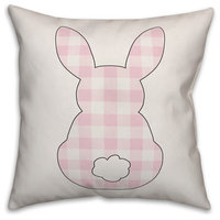 Pink Buffalo Check Sitting Bunny Silhouette 20x20 Throw Pillow Cover