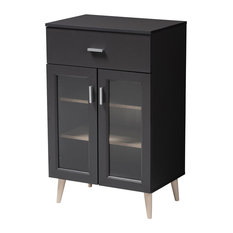 Jonas Dark Gray and Oak Brown Kitchen Cabinet