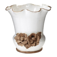 Rustic Garden White Scalloped Planter with Flowers