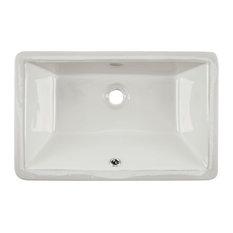 """Undermount 21"""" Glazed Porcelain Trough Bathroom Sink, Biscuit"""