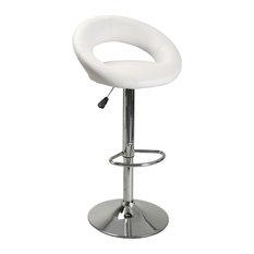 Contemporary Adjustable Bar Stool, White