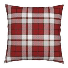 Green Stripe Red Plaid Throw Pillow, Linen Cotton