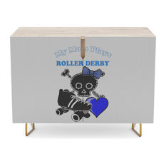 "Society6 - Society6 Credenza, Birch, Steel, 30"", My Mom Plays Roller Derby - Buffets and Sideboards"