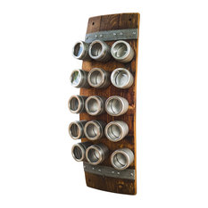 Banded Wine Barrel Spice Rack With 15 Cans