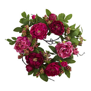 Nearly Natural 20'' Peony and Berry Wreath