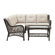 4-Piece Random Weave Sectional With Cushions, Brown
