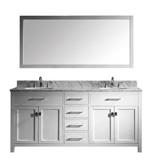 "Caroline 72"" Double Vanity Cabinet Set, White Round, Without Faucet"