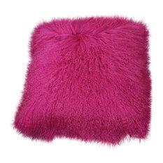 Caribbean Sunset Tibetan Fur Cushion, Furry Fuchsia