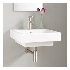 "Signature Hardware 937019 Stoddert 20"" Porcelain Wall Mounted Bathroom Sink wit"