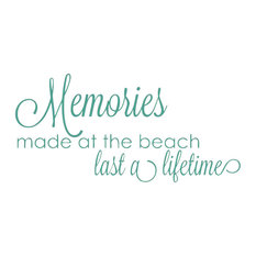 Decal Memories Made At The Beach Last A Lifetime Quote, Teal