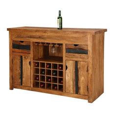 Modern Pioneer Acacia Wood Wine Bar Entertainment Cabinet