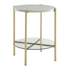 """20"""" Mid Century Round Side End Table Nightstand, White Marble & Gold"""