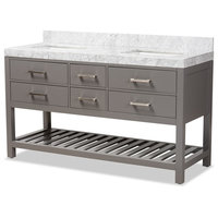 "Modern 60"" Gray Finished Wood, Marble Double Sink Bathroom Vanity"