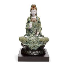 Lladro Kwan Yin Green Figurine