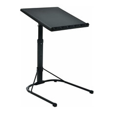 Modern Folding Laptop Table Stand, Black Steel Metal With Adjustable Height