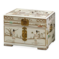 Jewelry Box With Mother of Pearl Maidens on Black Lacquer, White