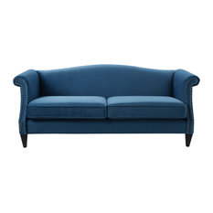 Jennifer Taylor Home Elaine Camel Back Sofa Satin Teal Sofas
