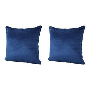 GDF Studio Velvin New Velvet Throw Pillow, Navy Blue, Set of 2
