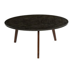 Bianco Collection Stella 31-inch Marble Coffee Table In Black And Walnut