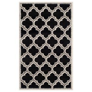 La Salis Anthracite and Ivory Indoor/Outdoor Rug, 91x152 cm