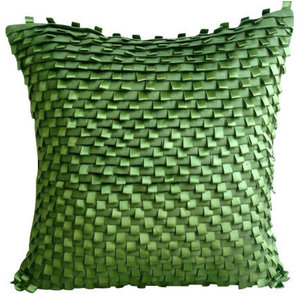 Textured 35x35 Faux Suede Green Decorative Cushions Cover, Go Green
