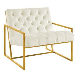 Modern Stainless Accent Chair, Velvet Ivory White