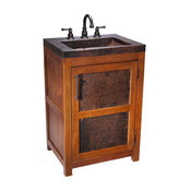 Petit Rustic Wood Vanity With Handcrafted Copper Sink