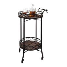 Dark Brown 2-Tier Portable Kitchen Serving Cart, Wine Bar, Casters