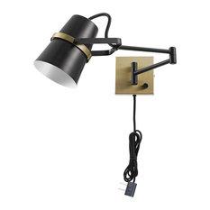 Novogratz x Globe McKibbin Matte Black Plug-In/Hardwire Swing Arm Wall Sconce