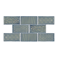 "3""x6"" Antiguo Sensations Ceramic Wall Tiles, Set of 8, Griggio"