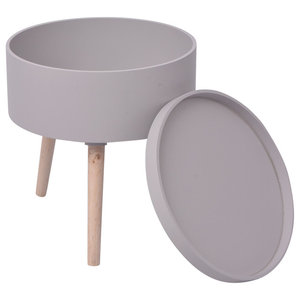 VidaXL Side Table With Serving Tray Round, Grey
