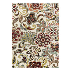 Dilek Contemporary Abstract Ivory Rectangle Area Rug, 9' x 12.6'