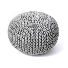 nuLOOM Knitted Cotton Ling Contemporary Pouf, Gray