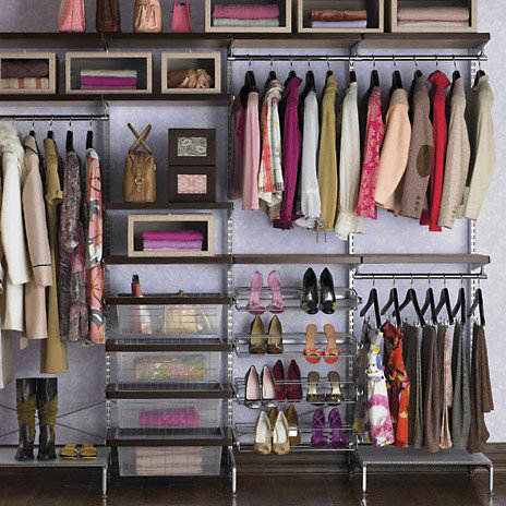 Etonnant Walnut And Platinum Elfa Decor Freestanding Closet   Closet Organizers