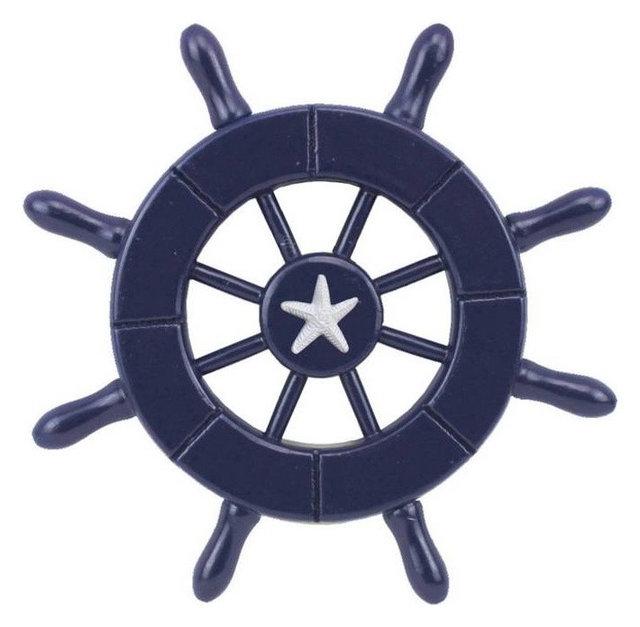 Dark Blue Decorative Ship Wheel With Starfish 6 Boat Steering Decor
