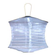 Soji Silk Effects Square Lantern, Pearl