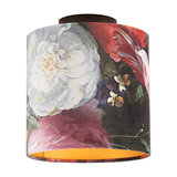 Ceiling lamp with velor shade flowers with gold 20 cm - Combi black