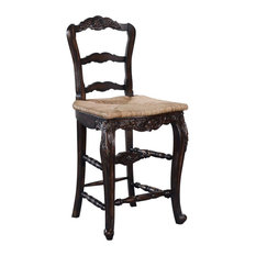New Bar Height Stool French Country Carved Wood  Handwoven Rattan