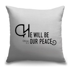"""Micah 5:5 - Scripture Art in Black and White"" Outdoor Pillow 18""x18"""