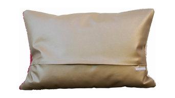 Kissen 40x60cm Strick-Kunstleder in Kupfer Rückseite